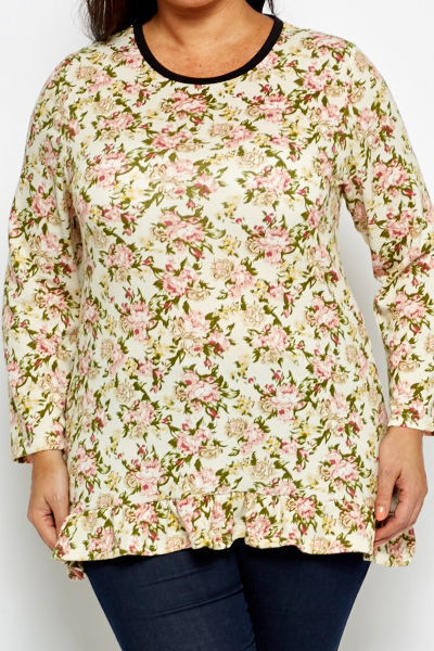 Frilled Hem Floral Top