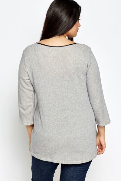 Grey Contrast Top