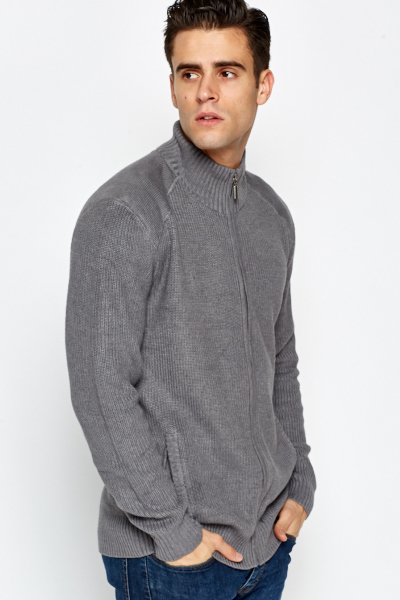 Ribbed Zip Front Cardigan