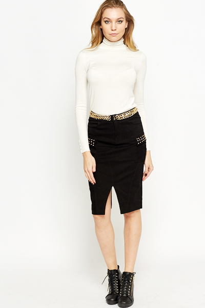 Chain Front Slit Skirt