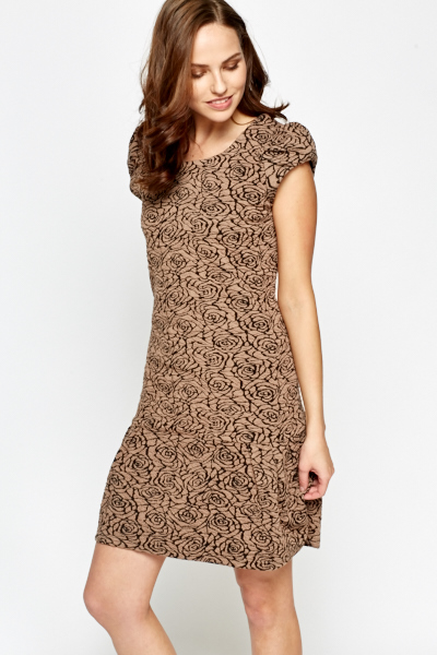 Frilled Hem Jacquard Dress