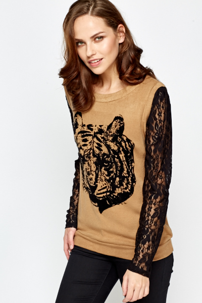 Lace Sleeve Knit Top