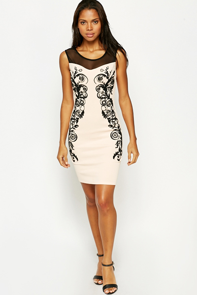 Mesh Insert Floral Bodycon Dress