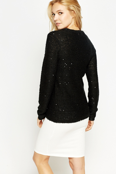 Sequined V-Neck Jumper
