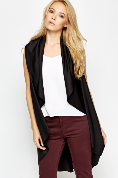 Sleeveless Waterfall Open Cardigan