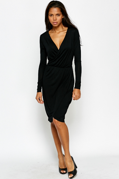 64973ccc55ec Black Plunge Wrap Dress - Just £5