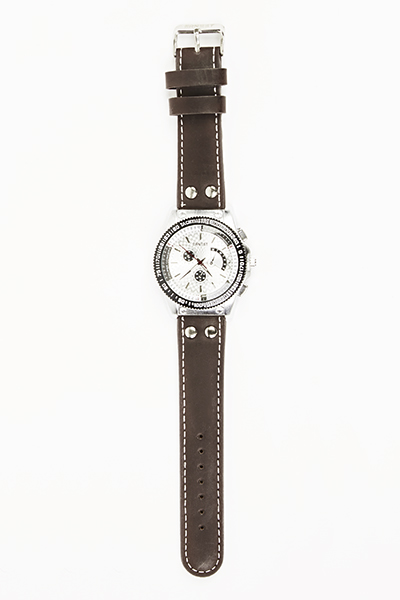 Chronograph Sport Faux Leather Strap Watch