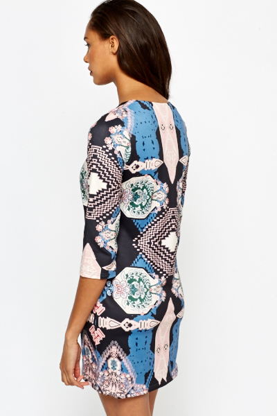 Floral Abstract Lace Trim Dress