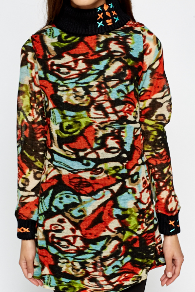 High Neck Mix Print Jumper Dress