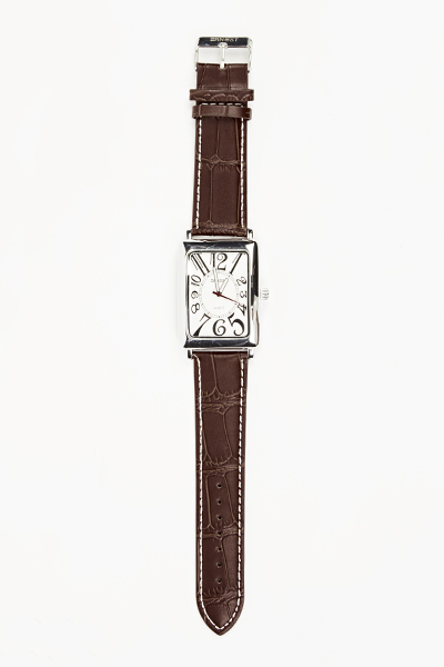 Textured Faux Leather Strap Mens Watch