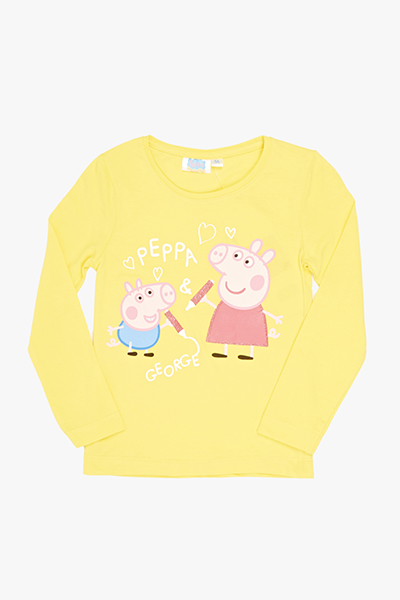 Yellow Peppa And George Pig Top