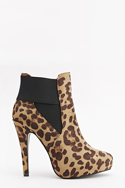Ankle High Leopard Print Boots