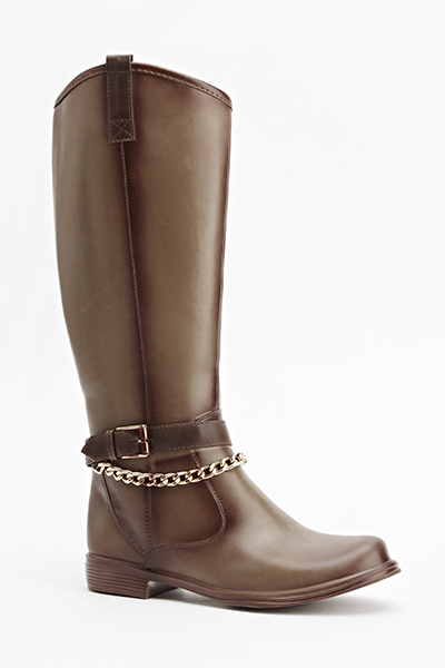 Chain Trim Knee High Boots