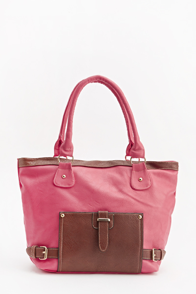 Two Tone Buckle Tote Bag
