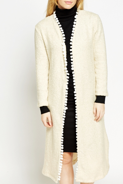 Cream Bobble Trim Longline Cardigan