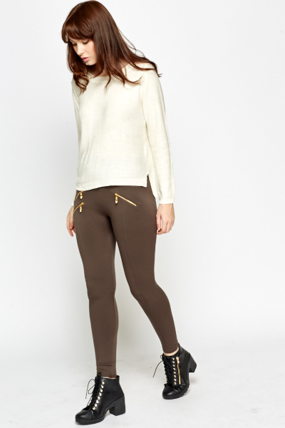 Fleece Zip Detail Leggings
