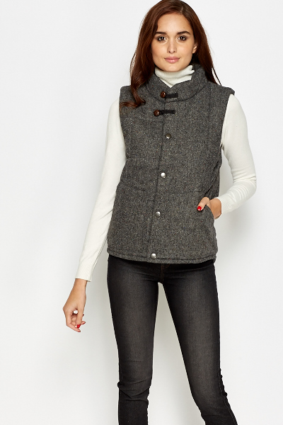 Speckled Grey Button Up Gilet