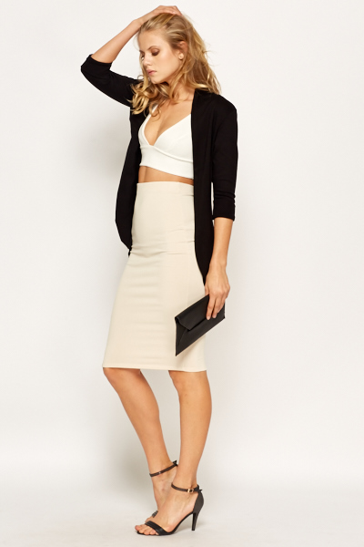 beige high waist pencil skirt just 163 5
