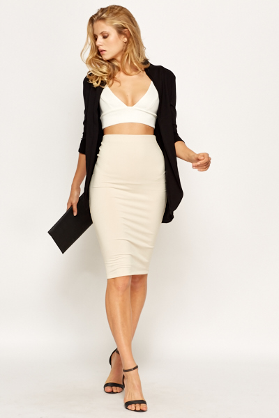 Beige High Waist Pencil Skirt - Just £5