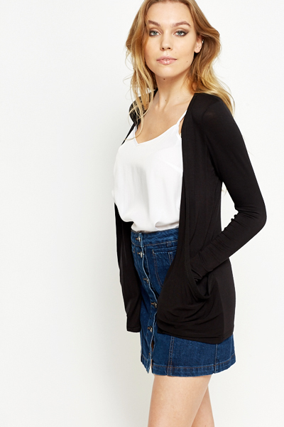 Black Open Front Knitted Cardigan