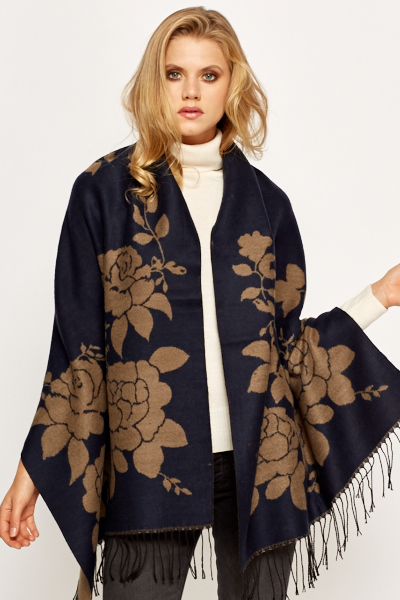 Large Contrast Flower Scarf Wrap