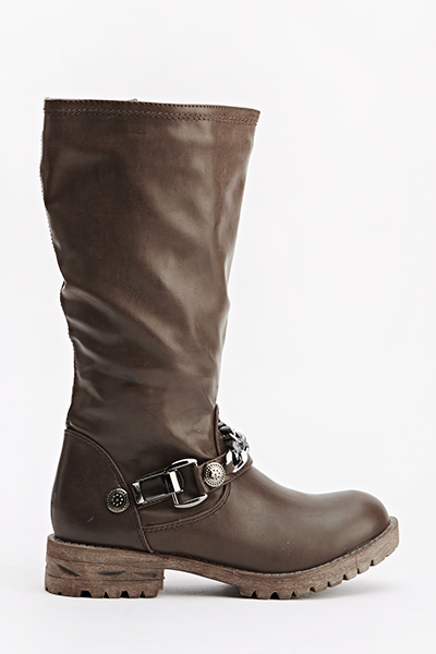 Chain Front Faux Leather Boots