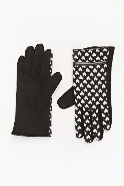 Contrast Heart Trim Gloves