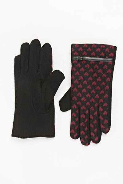 Image of Contrast Heart Trim Gloves