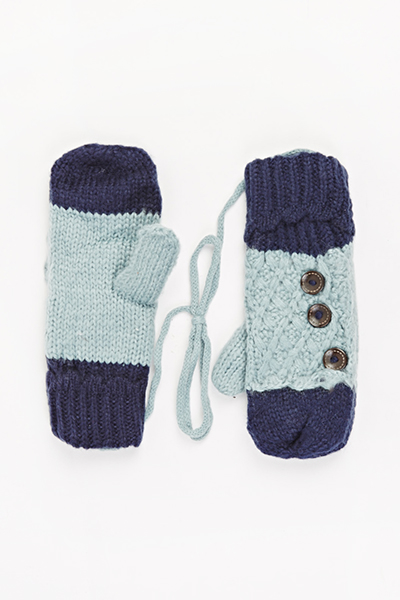 Image of Contrast Knitted Button Side Gloves