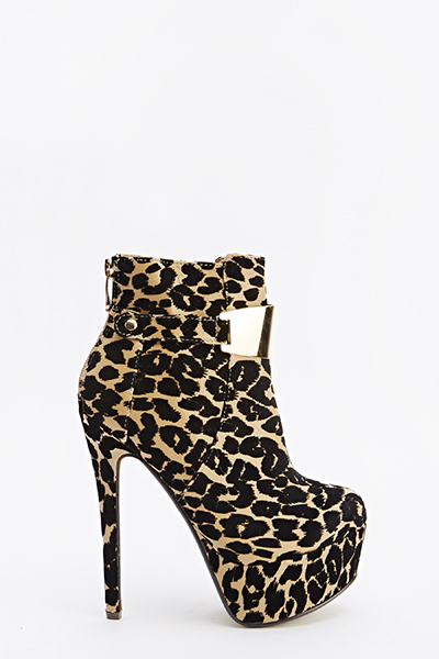 Leopard Print High Ankle Boots