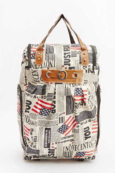 USA Paper Print Luggage Bag