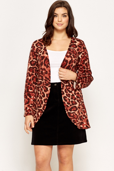 Animal Printed Tie Up Cardigan