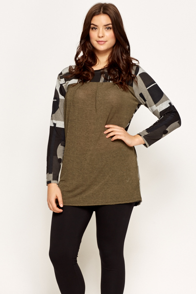 Aztec Contrast Back Pullover