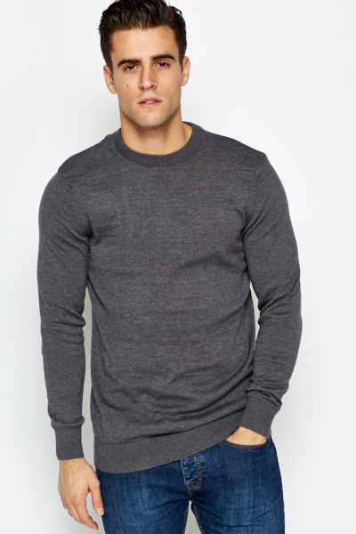 Casual Ribbed Neck Jumper