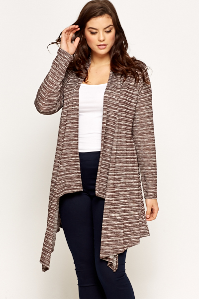 Coffee Stripe Waterfall Cardigan - Just £5