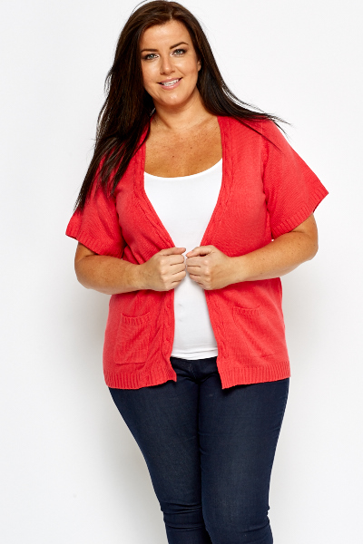 Coral Knit Open Cardigan