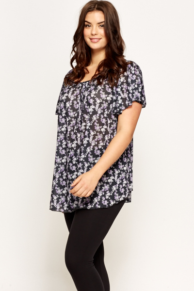 Floral Charcoal Multi Blouse