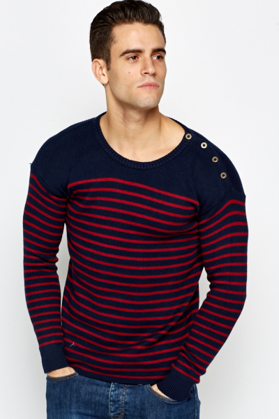 Striped Knit Button Detail Jumper