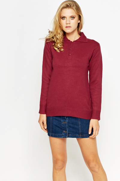 Button Up Collared Jumper