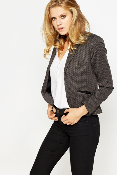Dark Grey Printed Blazer
