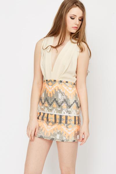 Aztec Sequin Backless Dress - Just £5