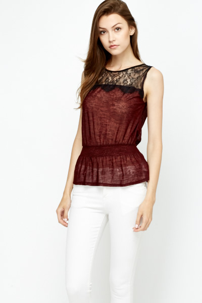 Burgundy Sheer Lace Yoke Top