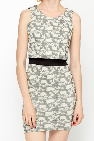 Contrast Waist Jacquard Dress