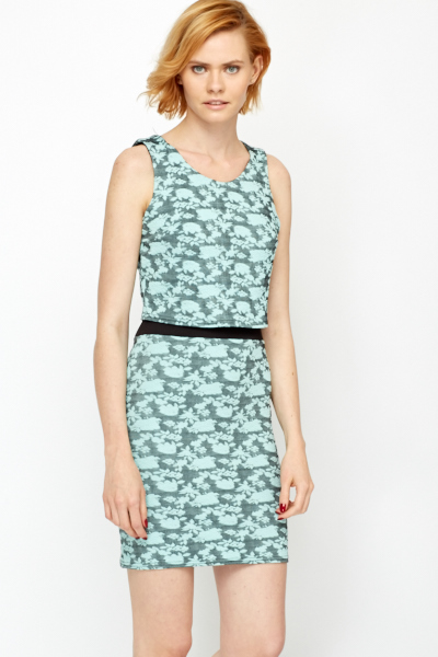 Contrast Waist Mini Jacquard Dress