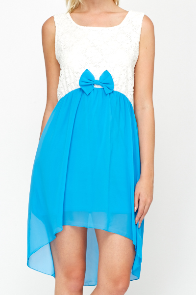 Lace Bodice Contrast Blue Bow Dress