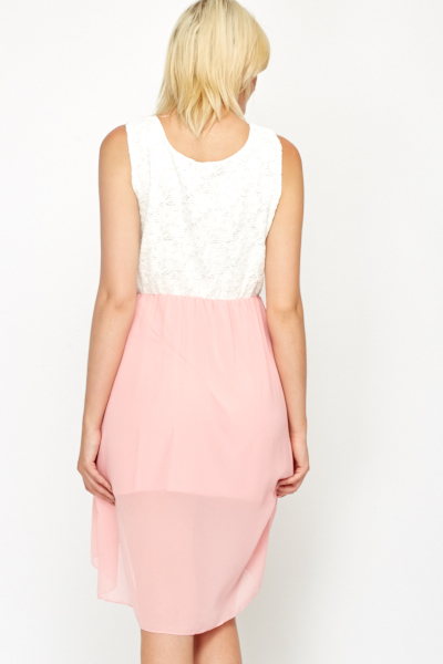 Pink Contrast Lace Bodice Dress
