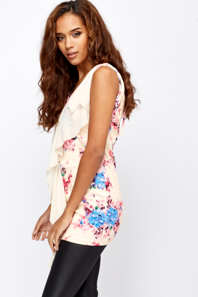 Ruffle Front Floral Top