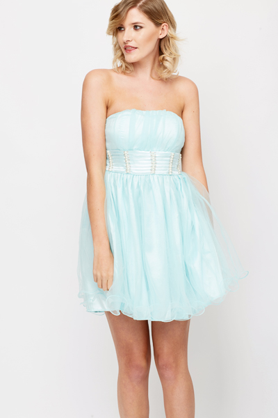 Sequin Pearl Trim Prom Dress