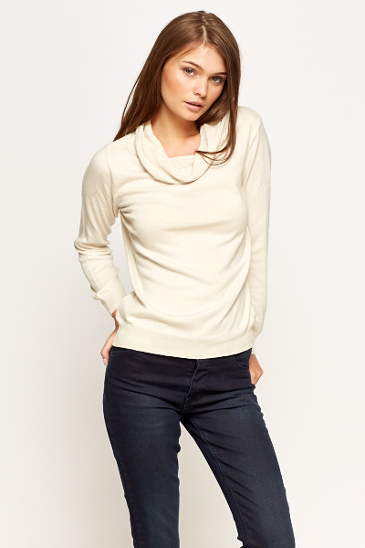 Textured Cowl Neck Pullover