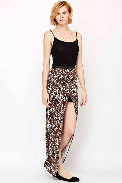 2d45abeef2b4 Wrap Front Leopard Maxi Skirt - Just £5